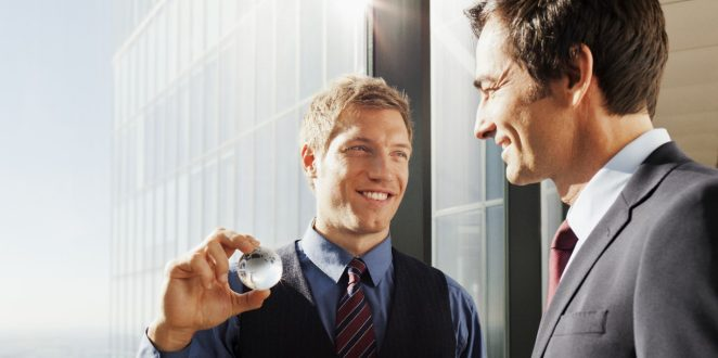 Businessmen at high rise building with a stunning view  and a glass globe